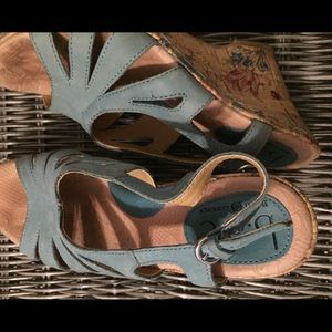 B.O.C Leather wedges with floral heals